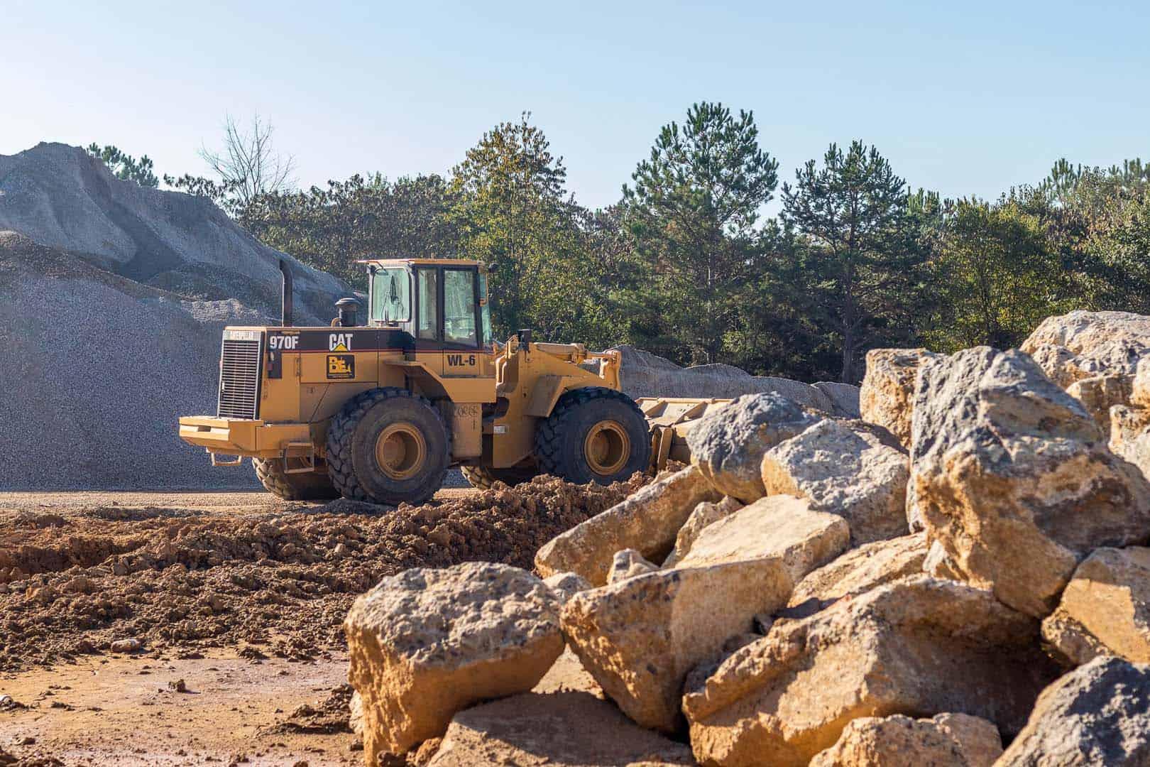 Bulldozer moving rocks